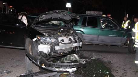 Two women were hurt in a two-vehicle crash