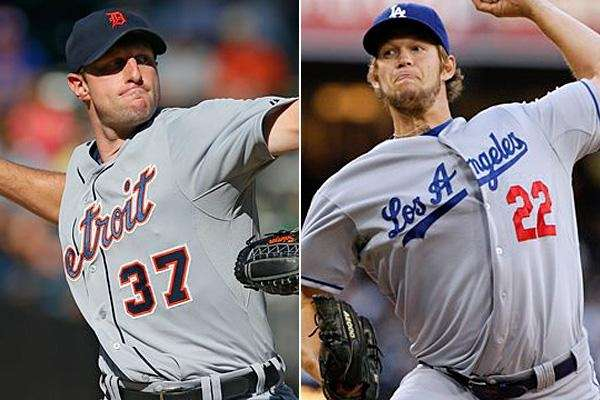 Detroit Tigers pitcher Max Scherzer, left, and Los