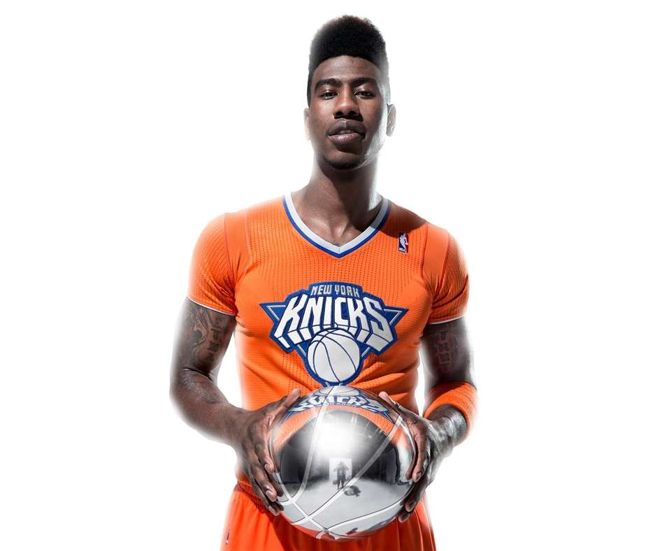 Iman Shumpert models the Knicks' special jersey for
