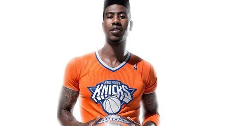 Iman Shumpert models the Knicks' special jersey for