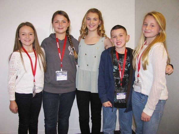 Kidsday reporters (l) Madison Segal, Eleni Kastamonitis, Victor