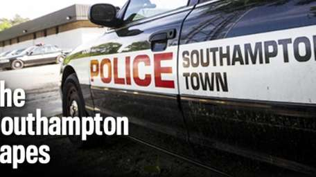 A Southampton Town police car parked in front