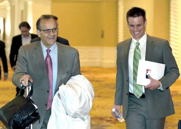 MLB executive vice president Joe Torre, left, and