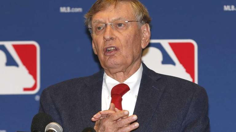 MLB Commissioner Bud Selig talks to the media
