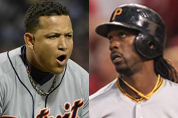 This composite image shows Detroit Tigers third baseman