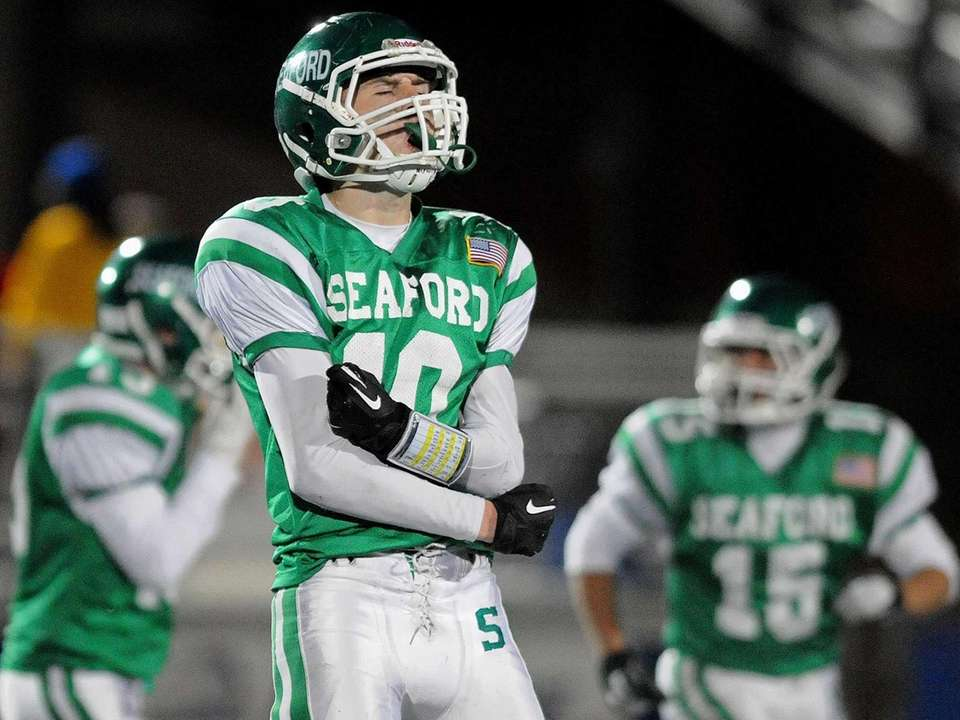 Seaford's Bobby Buell reacts after a fumble recovery