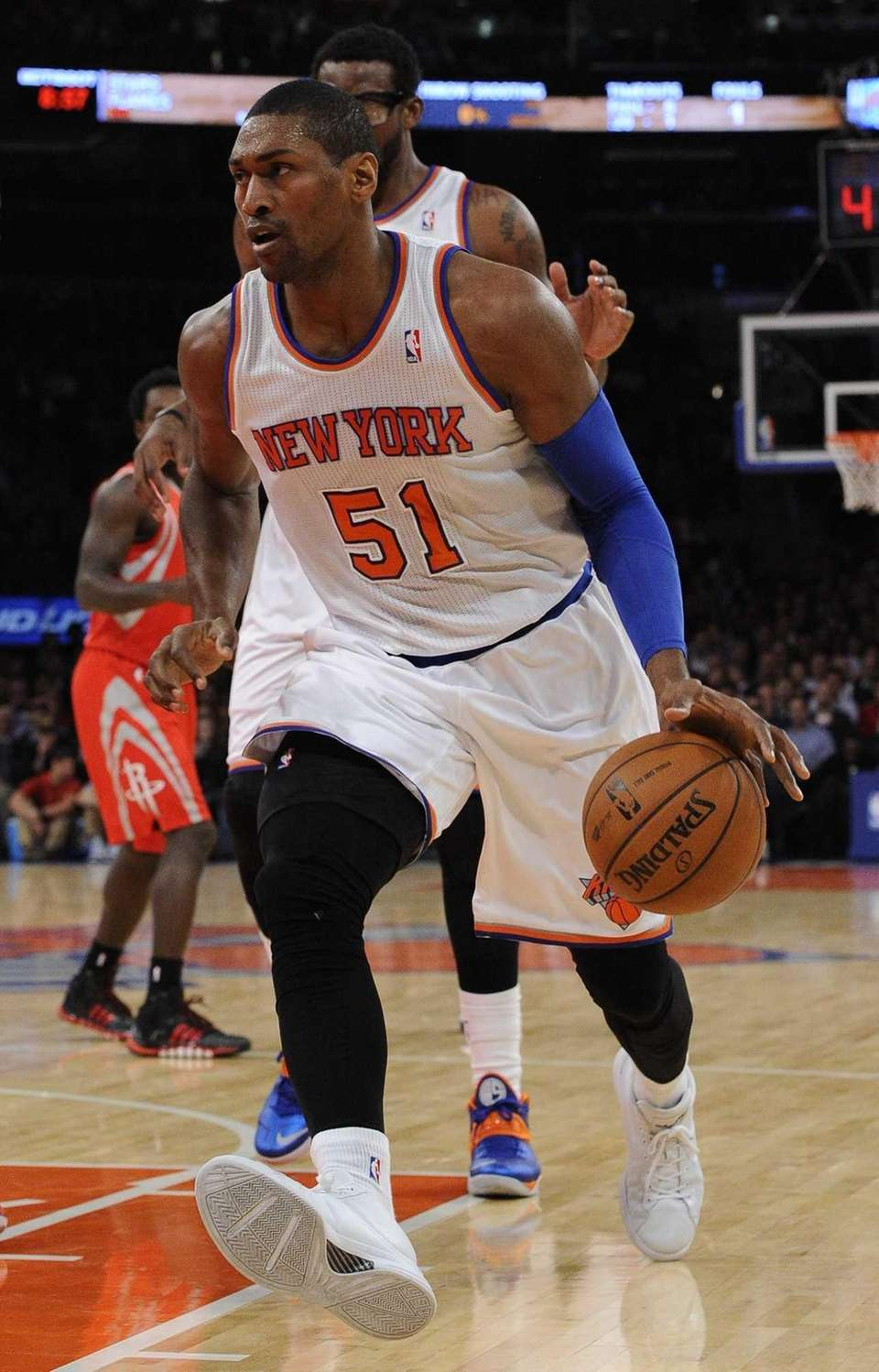Knicks forward Metta World Peace drives the basketball