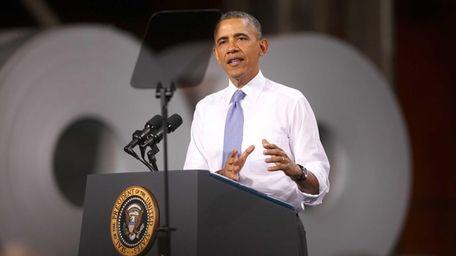 President Barack Obama speaks to workers at ArcelorMittal,