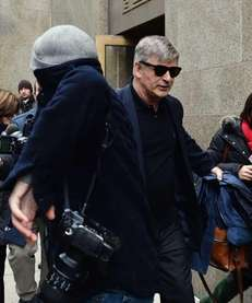 Alec Baldwin leaves Manhattan Criminal Court through a