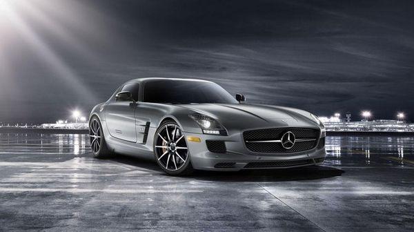 A 2014 Mercedes-Benz SLS AMG Black Series jumps