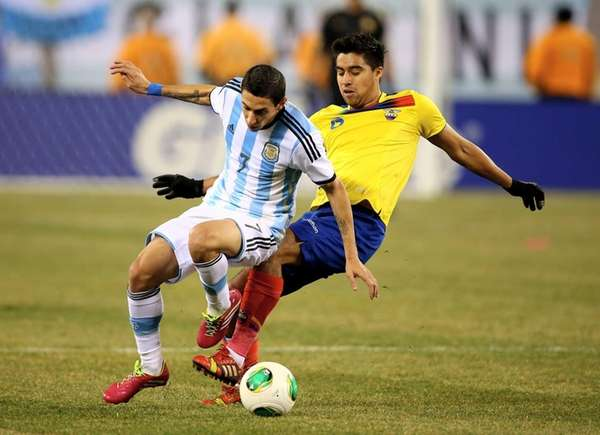 Angel Di Maria of Argentina tries to keep