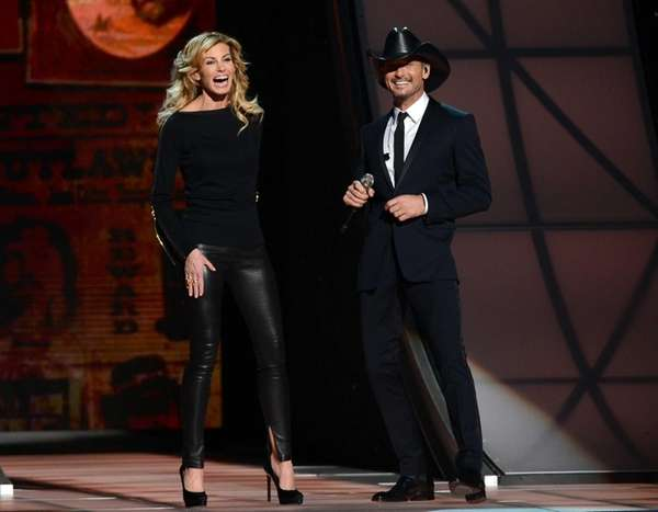 Faith Hill and Tim McGraw speak during the