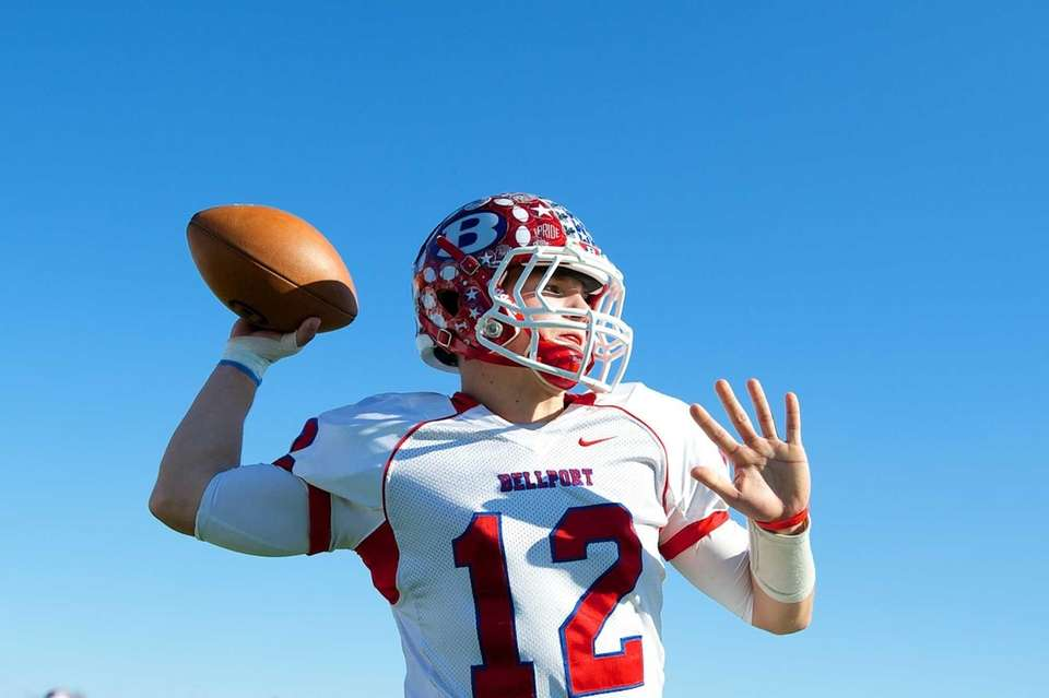 Bellport quarterback Nick Fountis warms up prior to
