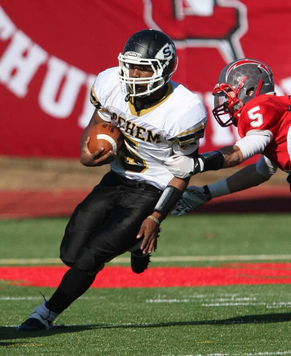 Sachem North's Malik Pierre gets away from Connetquot's