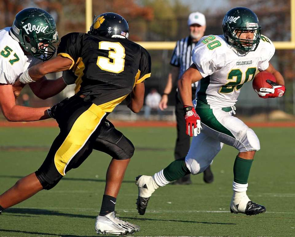 William Floyd running back Chris Faison (20) takes