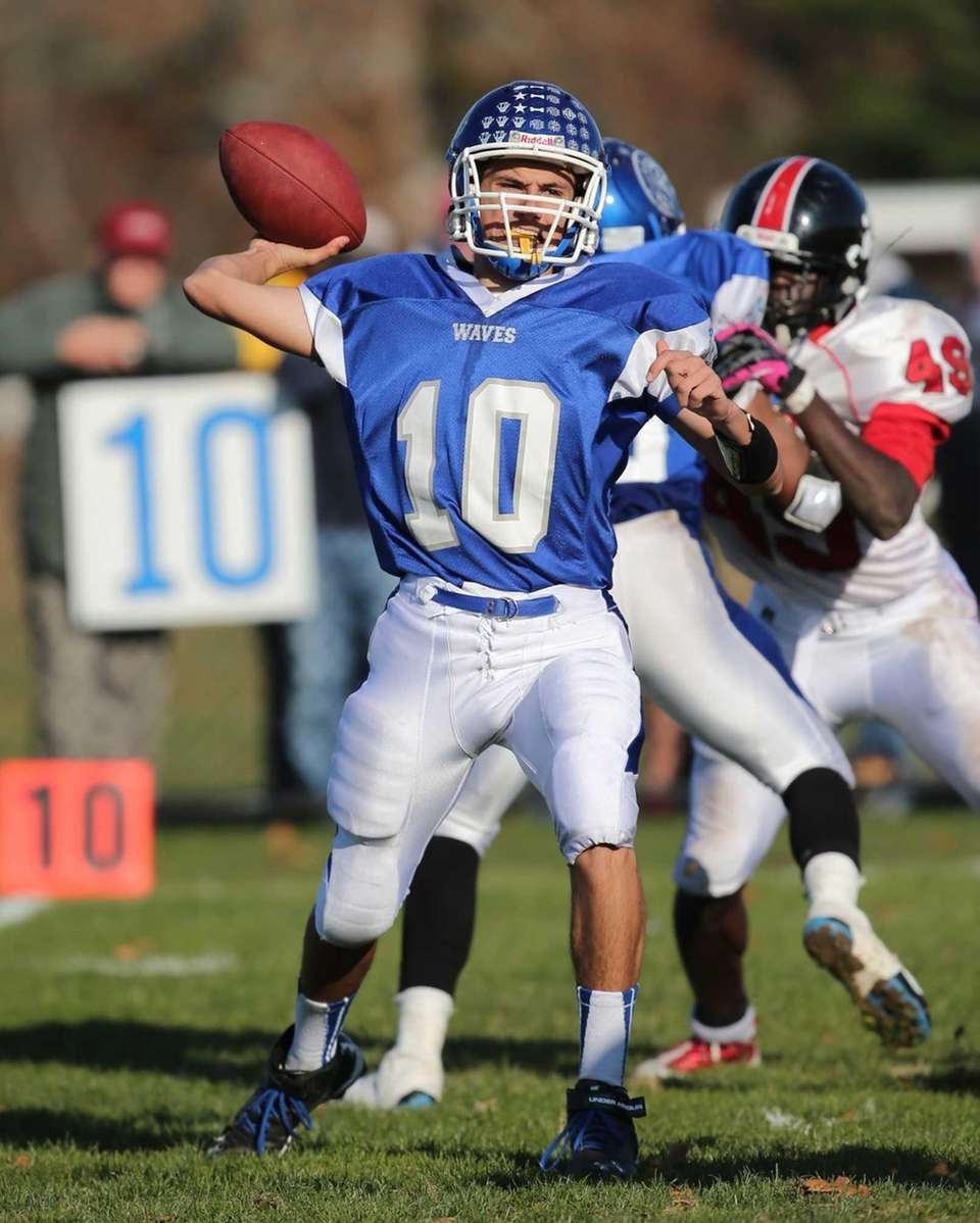 Riverhead quarterback Kenneth Simco attempts a pass against
