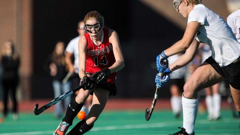 Pierson/Bridgehampton's Anna Sherwood tries to controll the ball