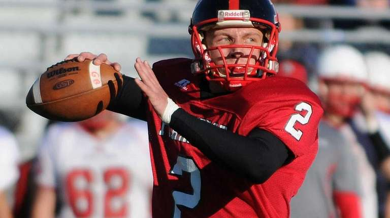 Plainedge quarterback Nick Frenger throws a pass during