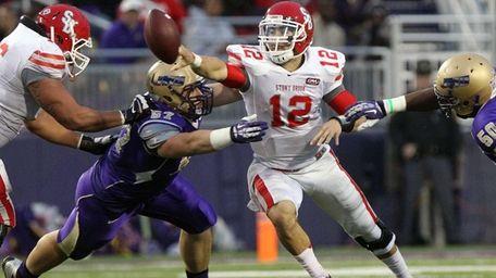 Stony Brook quarterback Lyle Negron tosses a shovel