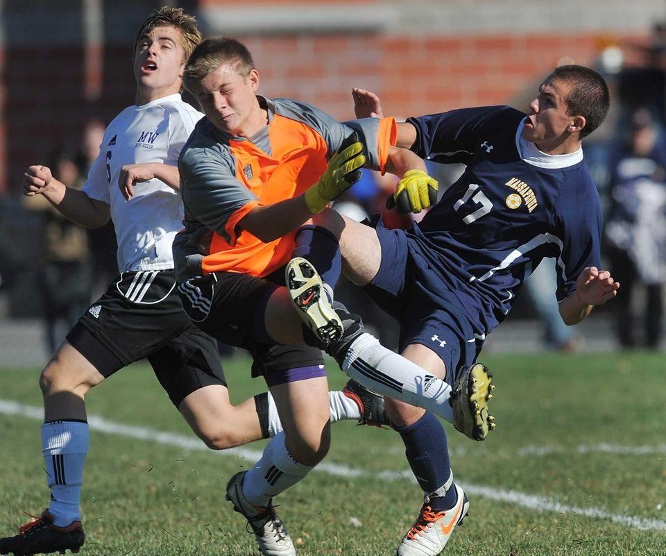 Massapequa's Nicholas Bernhard, right collides with Monroe-Woodbury goalie