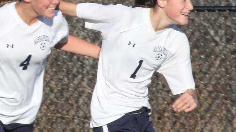 Massapequa's Hope Breslin celebrates her goal with Sara
