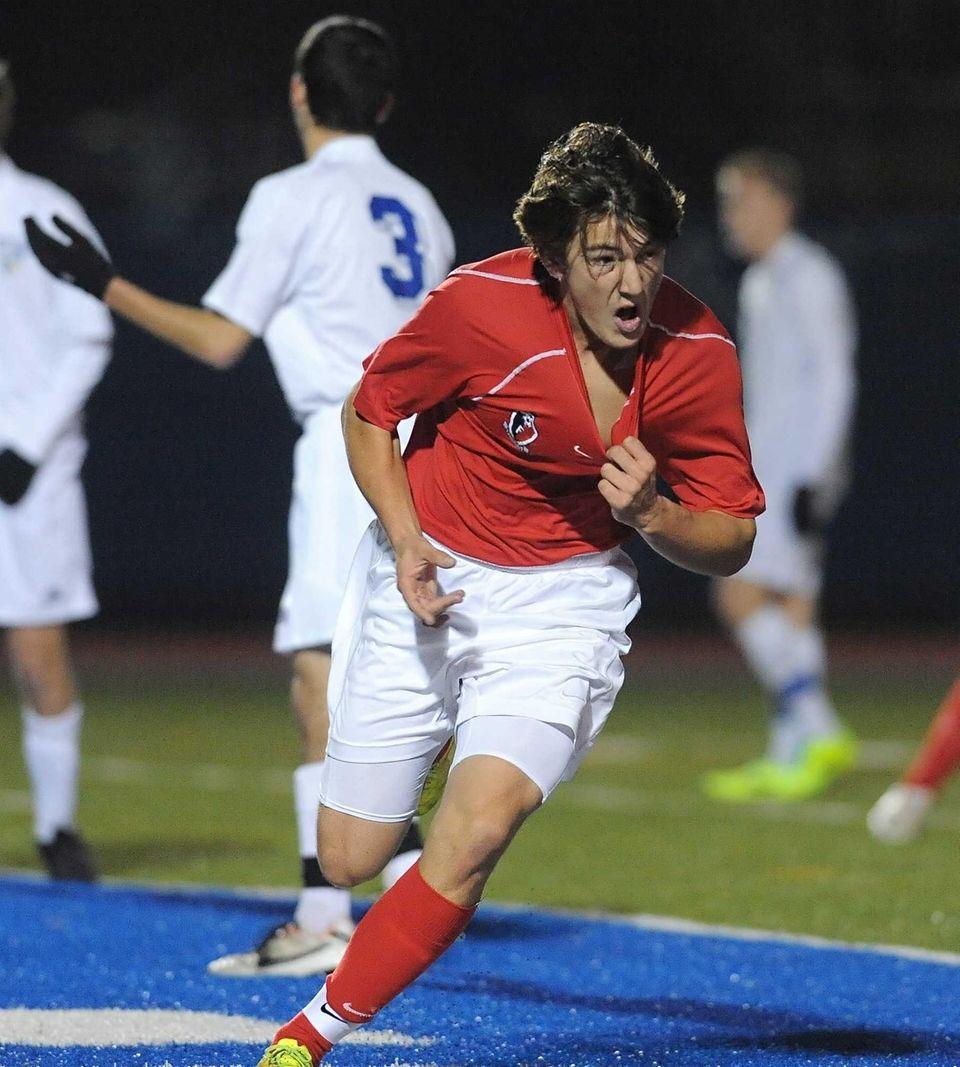 Friends Academy's Maximillian Heffron celebrates his first-half goal