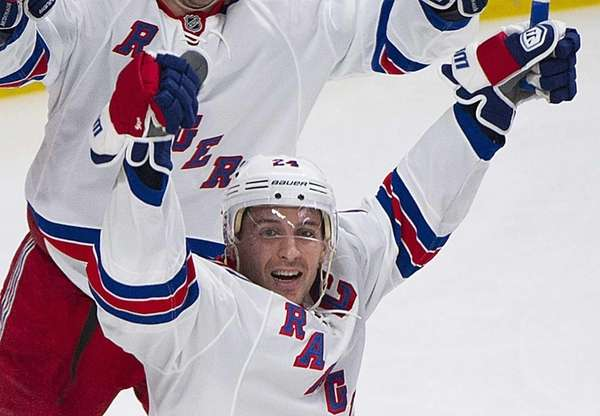Rangers' Ryan Callahan celebrates after scoring against the