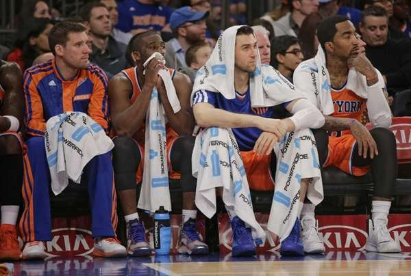 Knicks center Cole Aldrich, point guard Raymond Felton,