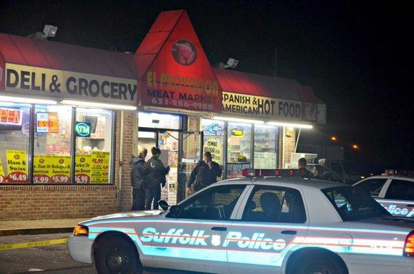 Three men were stabbed on a street corner