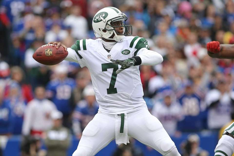 Geno Smith throws a pass during a game