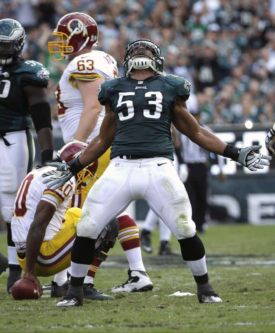 Philadelphia Eagles linebacker Najee Goode (53) celebrates his