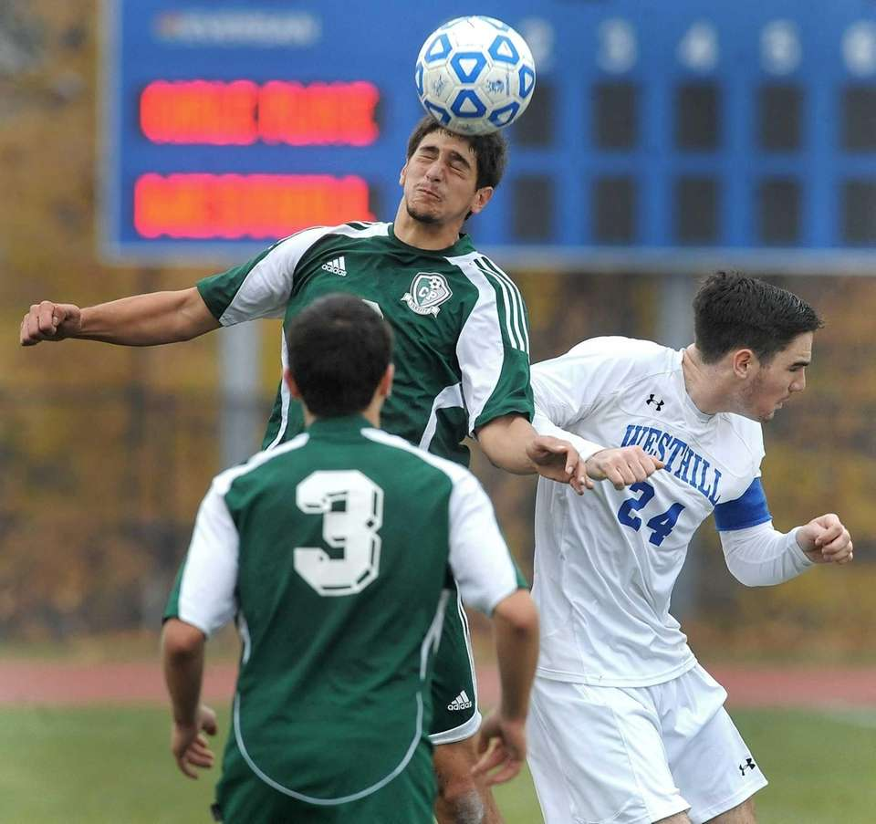 Carle Place's Roberto Posillico, left, beats Westhill's Tom