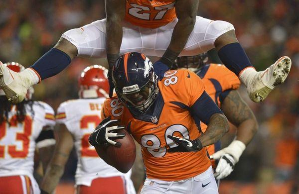 Denver Broncos running back Knowshon Moreno leaps over
