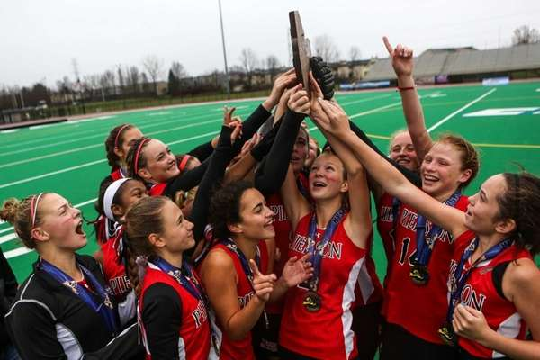 Pierson-Bridgehampton celebrates winning the Class C state title.