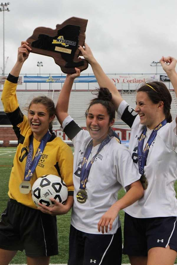 Massapequa's captains, Kathryn Hatziyianis, Nicole Mahin and Taylor