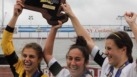 Massapequa's captains, Kathryn Hatziyianis, Nicole Mahin and Taylor