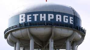 The Bethpage water tower is pictured. (April 30,