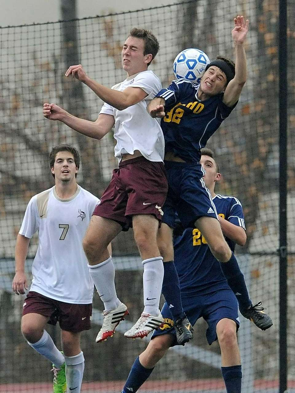 Jericho's Alex Medolla, right, and Pittsford Mendon's John