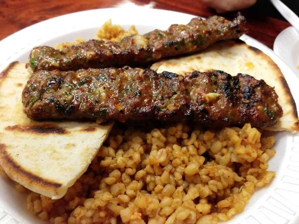 Beyti kebab platter (spicy ground lamb) at Mekan
