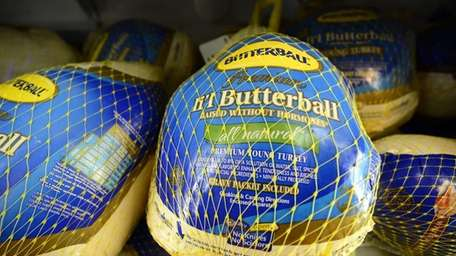 A frozen Butterball turkey on sale for Thanksgiving.
