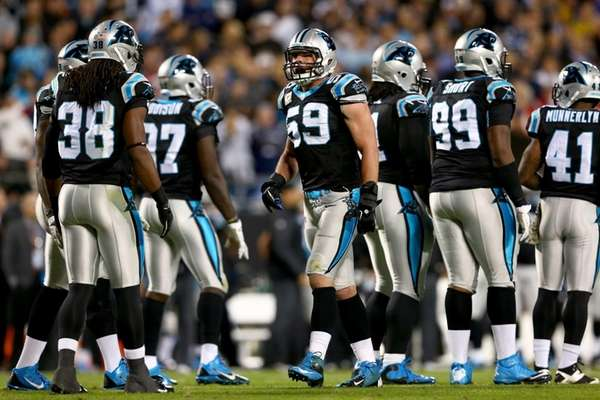 Linebacker Luke Kuechly of the Carolina Panthers reacts
