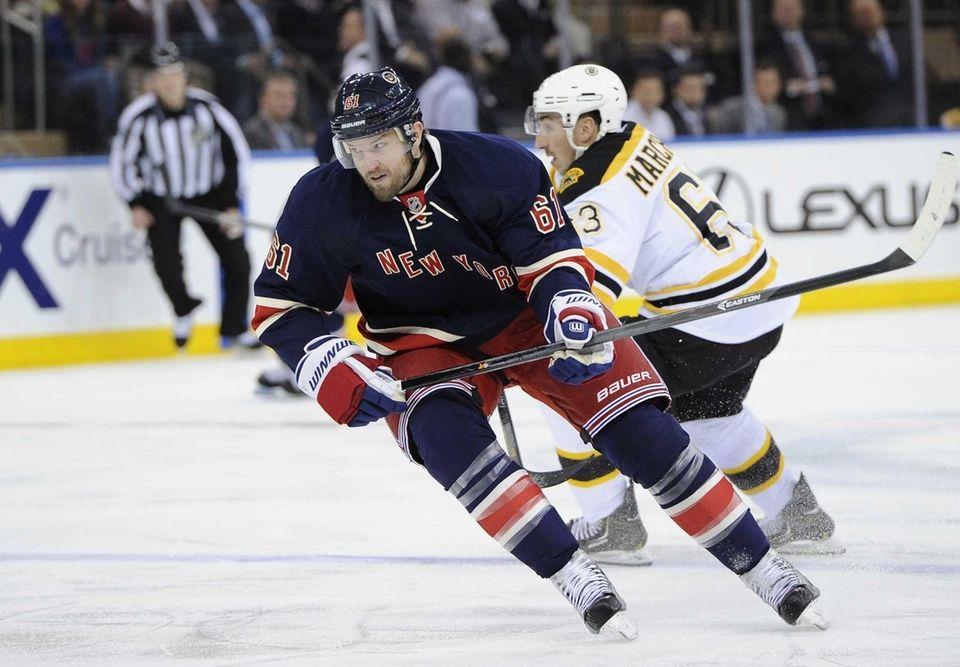 Rangers' Rick Nash skates against the Boston Bruins