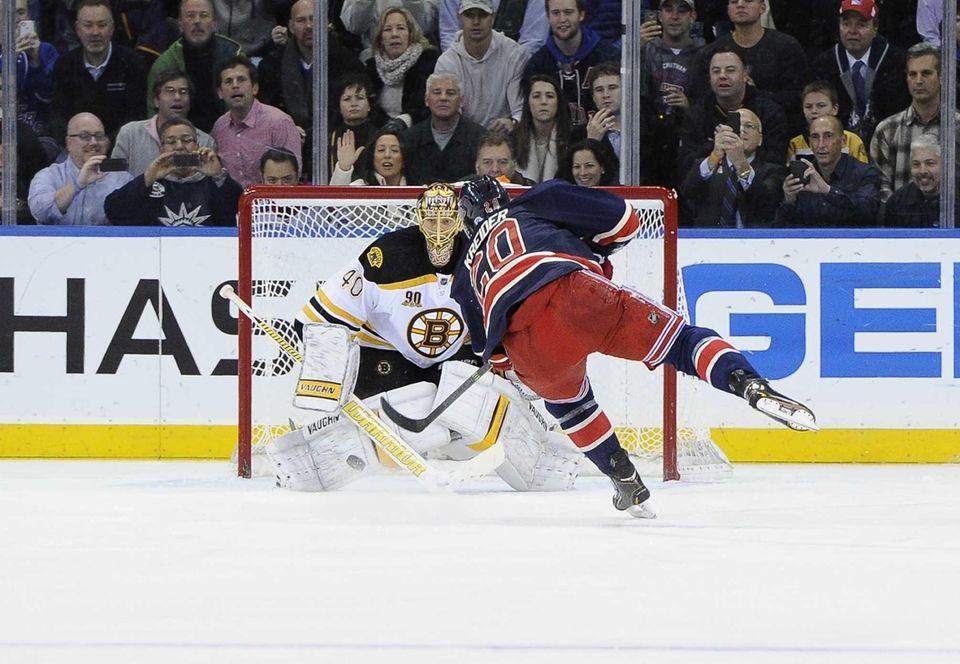 Boston Bruins goalie Tuukka Rask stops a penalty