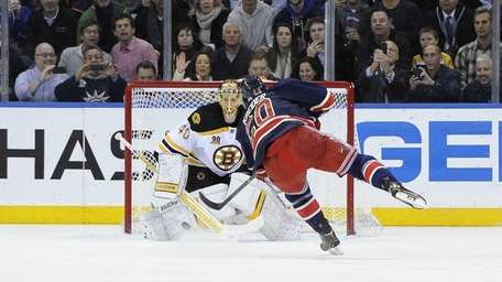 Boston Bruins goalie Tuukka Rask stops a penalty