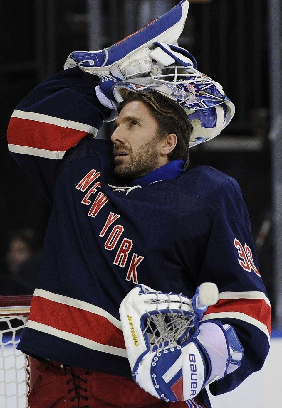 Rangers goalie Henrik Lundqvist put on his mask