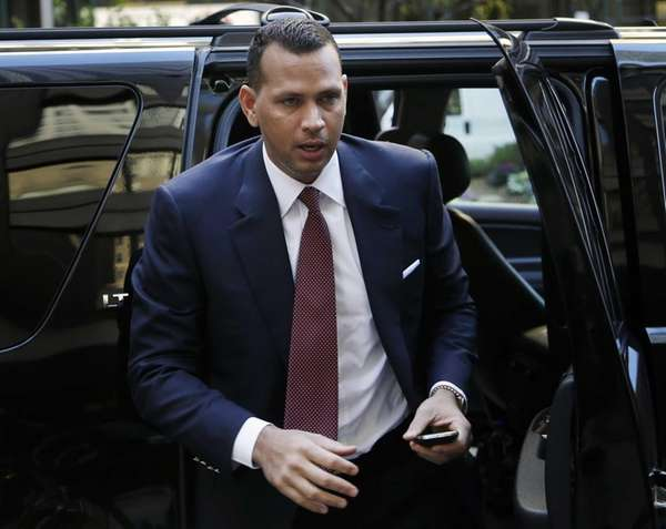 Alex Rodriguez arrives at Major League Baseball headquarters