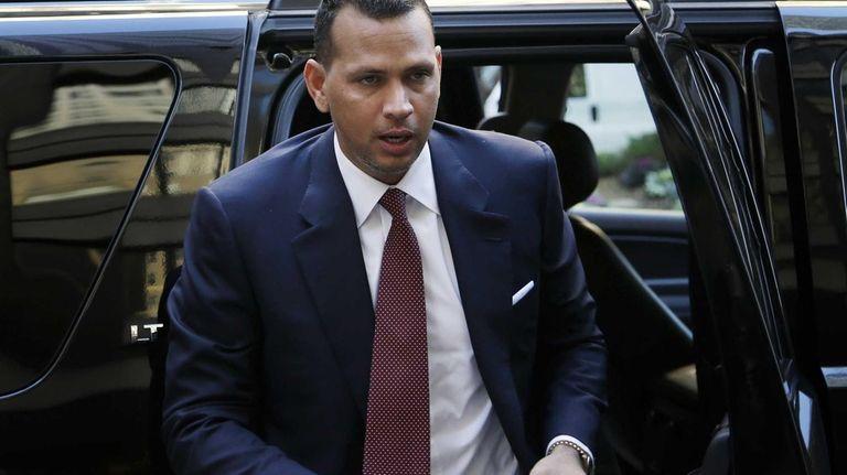Alex Rodriguez arrives at Major League Baseball headquarters