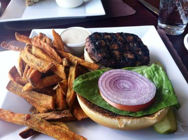 Turkey burger with sweet potato fries at the