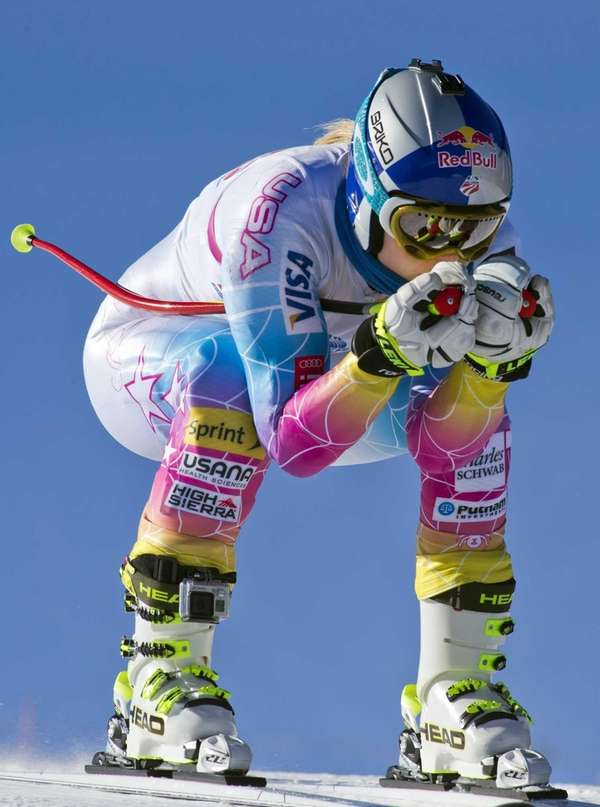 Lindsey Vonn speeds down the training course at