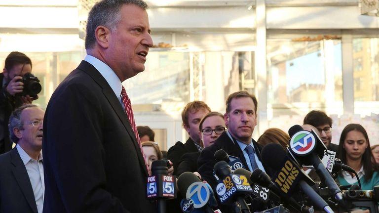 New York City Mayor-elect Bill de Blasio speaks